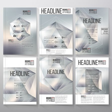 Polygon pattern with the reflection, minimalistic geometric facet crystal on blurred background. Brochure, flyer or report for vector business templates