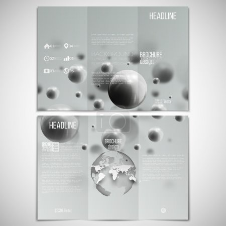 Vector set of tri-fold brochure design template on both sides with world globe element. Three dimensional glowing steel spheres, gray background