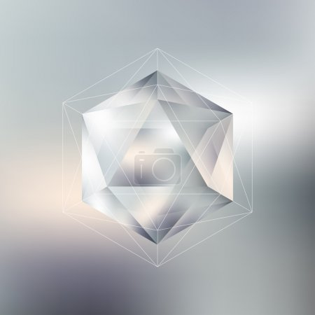 Polygon pattern with the reflection, minimalistic geometric facet crystal logo on blurred background, vector illustration
