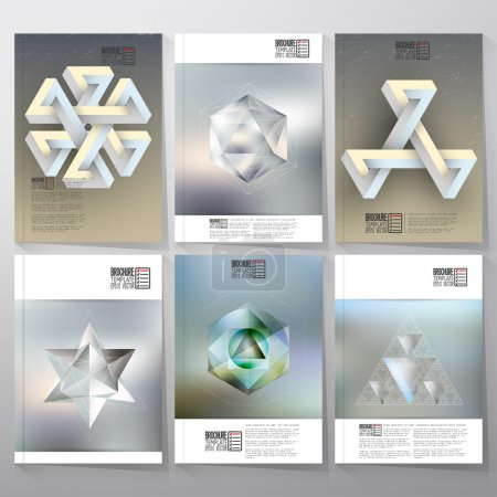 Unreal impossible geometric figures, polygon patterns with reflections. Brochure, flyer or report for vector business templates