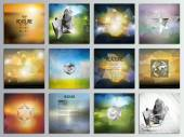 Set of 12 creative cards square brochure template design geometric science backgrounds set abstract blurred colorful vector patterns