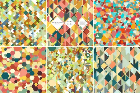 Set of colorful geometric backgrounds, abstract triangle-hexagonal-square  patterns, vector illustration