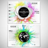 Vector set of tri-fold brochure design template on both sides with world globe element Abstract circle black banners watercolor stains and vintage style star burst vector illustration