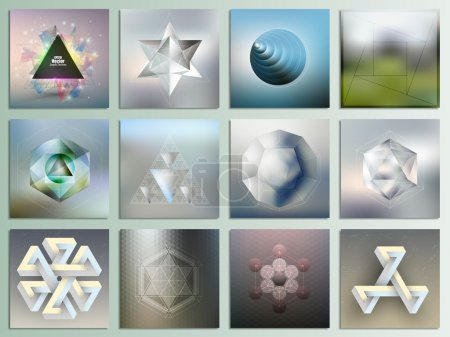 Set of unreal figures and polygon patterns with the reflection, abstract patterns, minimalistic geometric facet crystal logos on blurred background, vector elements for design