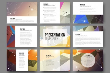 Set of 9 vector templates for presentation slides. Abstract colored background, triangle design illustration.