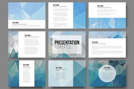 Illustration pour Jeu de 9 modèles pour diapositives de présentation. Fonds bleus abstraits. Vecteurs de conception de triangle - image libre de droit