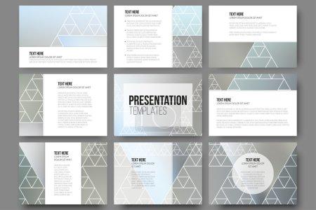Illustration for Set of 9 templates for presentation slides. Minimalistic geometric blurred vector backgrounds - Royalty Free Image