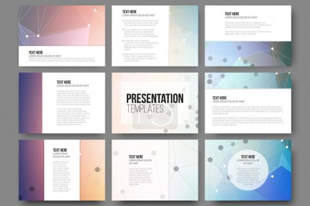 Set of 9 vector templates for presentation slides. Abstract colored background, triangle design vector illustration