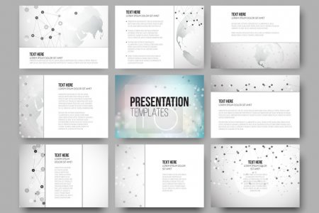 Set of 9 vector templates for presentation slides. Molecule structure, dotted world globe. Scientific graphic design