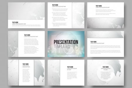 Illustration for Set of 9 vector templates for presentation slides. Graphic design of molecule structure, dotted world globe. Gray scientific vector design - Royalty Free Image
