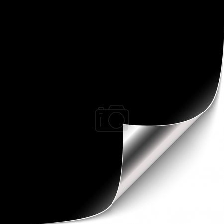 Illustration for Curled Black Paper Corner with Silver Back Side. Vector Illustration - Royalty Free Image