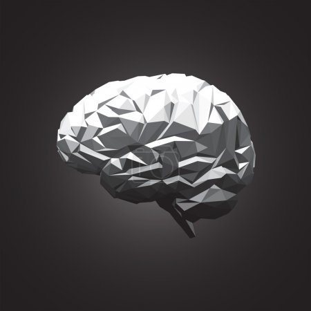Illustration pour Paper Abstract Human Brain on Dark Background. Illustration vectorielle - image libre de droit