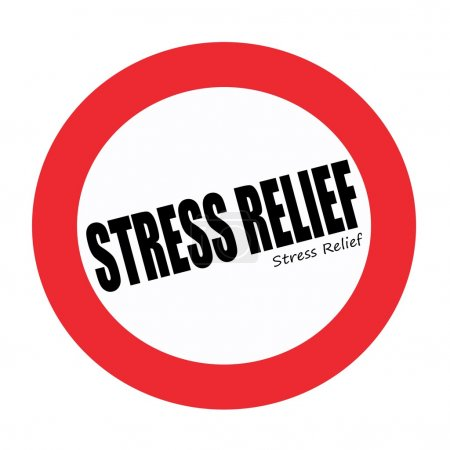 STRESS RELIEF black stamp text on white