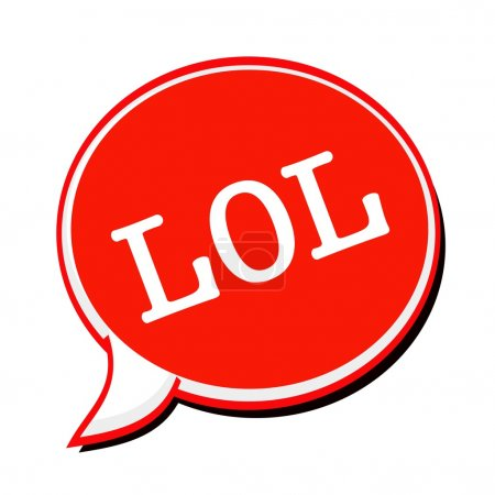 LOL white stamp text on red Speech Bubble
