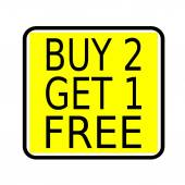 Buy 2 get 1 free stamp text on yellow background