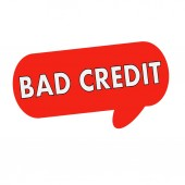 Bad credit  wording on Speech bubbles red cylinder