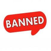 Zakázané text na řeč bubliny červené válec
