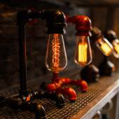 Beautiful vintage retro lamp. Electricity