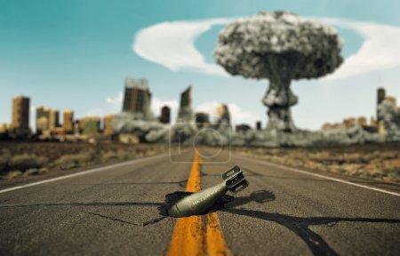 Photo pour Bombe sur la route. Contexte une explosion nucléaire . - image libre de droit