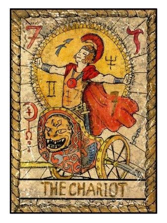 chariot old tarot card