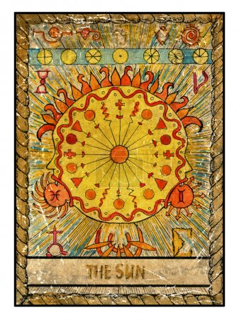 Photo for Sun. Full colorful deck, major arcana. old tarot card, vintage hand drawn engraved illustration with mystic symbols. - Royalty Free Image