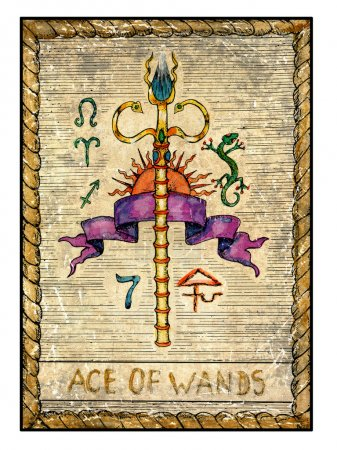 Photo for Ace of wands. Full colorful deck, minor arcana The old tarot card, vintage hand drawn engraved illustration with mystic symbols. Stick with banner, sun and zodiac signs - Royalty Free Image