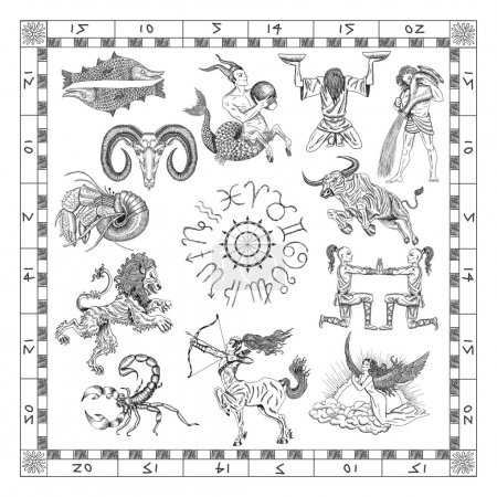 Graphic chart with zodiac symbols