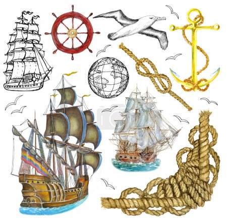 Photo pour Aquarelle et ensemble graphique avec de vieux voiliers et objets marins isolés sur blanc. Collections avec éléments dessinés à la main et symboles nautiques. Illustrations Doodle avec voiliers vintage . - image libre de droit