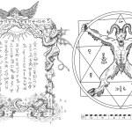 Graphic gothic set with devil in circle, pentagram...