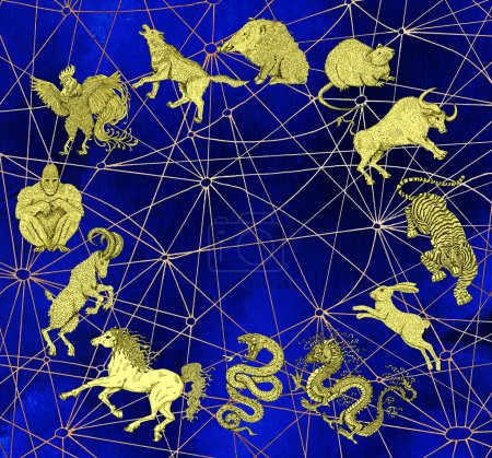Background with chart of twelve zodiac animals