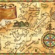 Old Pirate map with wind rose and ship...