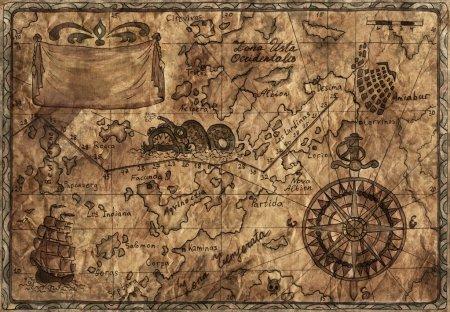 Photo pour Vieille carte Pirate avec effet désaturé - image libre de droit