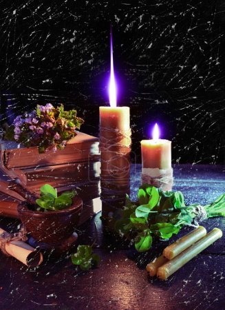 Fantastic still life with burning candles
