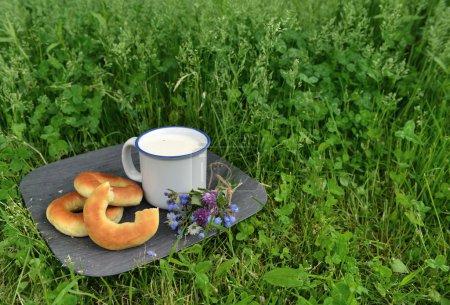 Cup of milkand  doughnuts