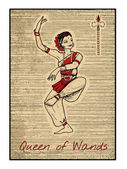 Queen of wands Full colorful deck minor arcana The old tarot card vintage hand drawn engraved illustration with mystic symbols Dancing woman beautiful asian or indian dancer
