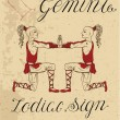 Zodiac sign of Gemini or Twins with constellation....