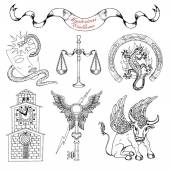 Graphic set with mystic symbols and emblems isolated Line art vector illustrations of engraved signs and emblems Doodle fantasy drawings and hand drawn sketches