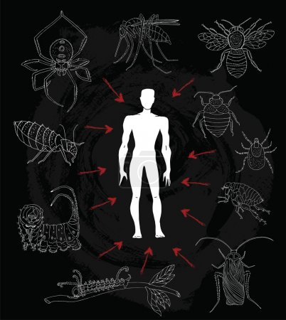 human silhouette and dangerous insects
