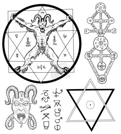 Magic set with Devil, Satan, pentagram and mystic ...