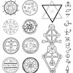 Mystic set with magic circles, pentagram and symbo...