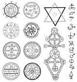 Mystic set with magic circles pentagram