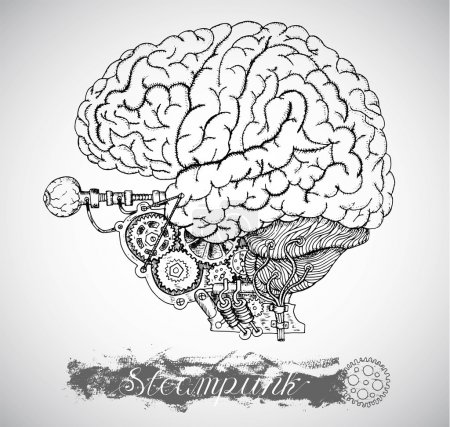 Illustration for Human brain and eye with vintage mechanism in steampunk style, parts of body and organs - Royalty Free Image