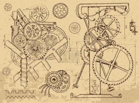 Illustration for Retro mechanisms and machines in steampunk style on textured background. Hand drawn graphic illustration, sketch tattoo, retro technology collection with cogs, gear and wheels - Royalty Free Image