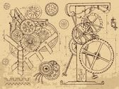 Retro mechanisms and machines in steampunk style
