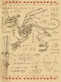 Set of drawings with skeleton of fantasy monster