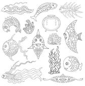 Design vector set with graphic drawings of various exotic fish aquarium and water grass black and white silhouettes