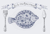 Vignette banner with plaice fish and cutlery