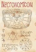 Page from magic book Necronomicon
