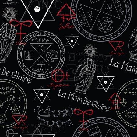 Seamless pattern with mystic symbols on black...