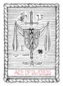 Ace of swords The minor arcana tarot card vintage hand drawn engraved illustration with mystic symbols Medieval sword with banner shield and zodiac signs